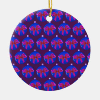 Purple Christmas Bauble Pattern Ornaments