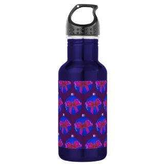Purple Christmas Bauble Pattern Water Bottle