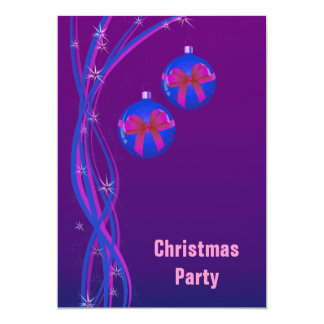 Purple Christmas Baubles and Ribbon Card