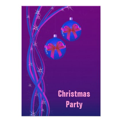 Purple Christmas Baubles and Ribbon Personalized Announcement