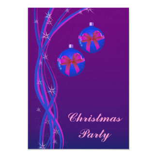 Purple Christmas Baubles Ribbon Card