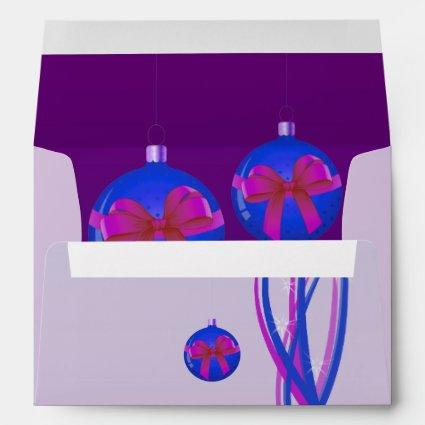 Purple Christmas Baubles Ribbon Envelope