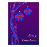 Purple Christmas Baubles Ribbon Greeting Cards