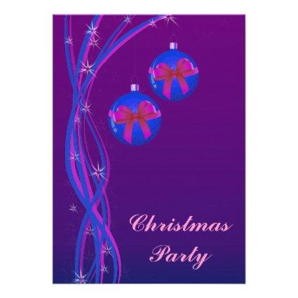 Purple Christmas Baubles Ribbon Custom Announcement