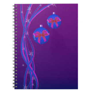 Purple Christmas Baubles Ribbon Notebook