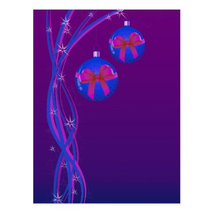 Purple Christmas Baubles Ribbon Post Card