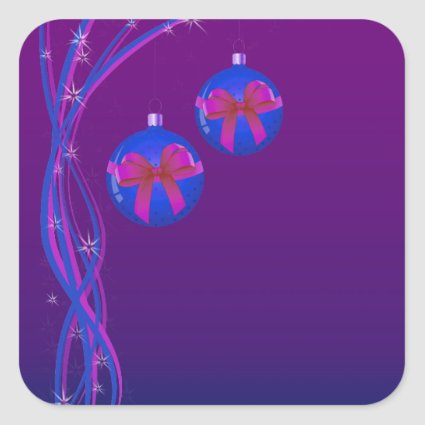 Purple Christmas Baubles Ribbon Square Stickers