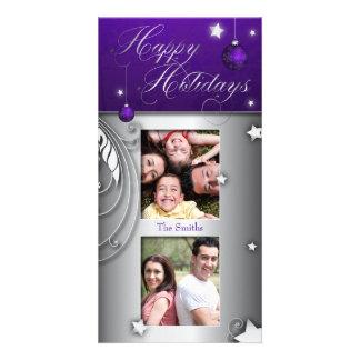 Purple Christmas Bulb Happy Holidays Photo Card