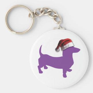 Purple Christmas Dachshund Keychain