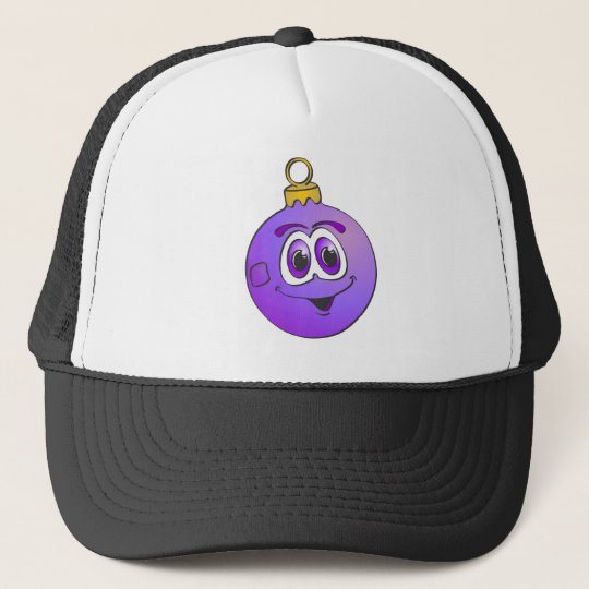 Purple Christmas Ornament Cartoon.png Trucker Hat