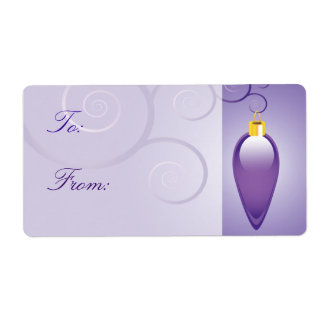 Purple Christmas Ornament Gift Labels