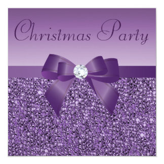 "Purple Christmas Party Printed Sequins & Diamond 5.25"" Square Invitation Card"