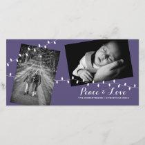 Purple Christmas Photo Postcard - Light Peace Love