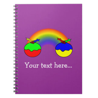 Purple Christmas Puddings And Rainbow Spiral Notebook