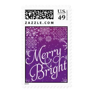 Purple Christmas Snowflake Postage Stamps