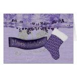 purple christmas stocking greeting card