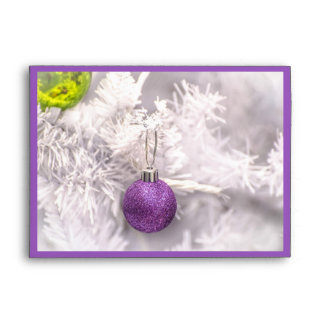 Purple Christmas tree bauble winter holiday Envelope
