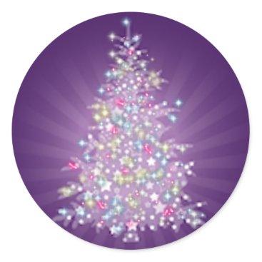 Christmas Themed Purple Christmas Tree Classic Round Sticker