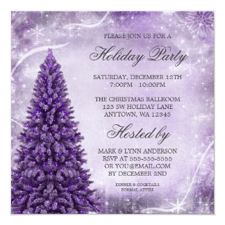 Purple Christmas Tree Holiday Party Invitation