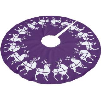 Purple Christmas Tree Skirt Holiday Reindeer Decor