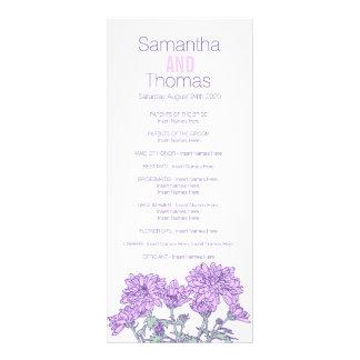 Purple chrysanthemum wedding program rack card