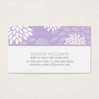 Purple Chrysanthemums Floral Pattern Business Card