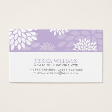 heartlocked Purple Chrysanthemums Floral Pattern Business Card