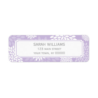 Purple Chrysanthemums Floral Pattern Label
