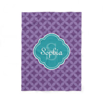 Purple Circle Leaf Pattern Teal Monogram Fleece Blanket