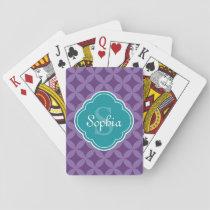 Purple Circle Leaf Pattern Teal Monogram Playing Cards