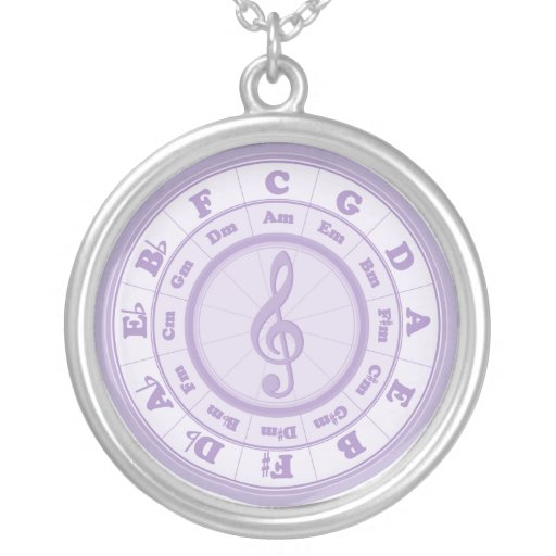Purple Circle of Fifths Round Pendant Necklace