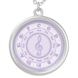 Purple Circle of Fifths Silver Plated Necklace