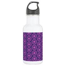 Purple Circle Pattern Flower Design Water Bottle