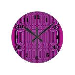 Purple Circle Pattern Wall Clock