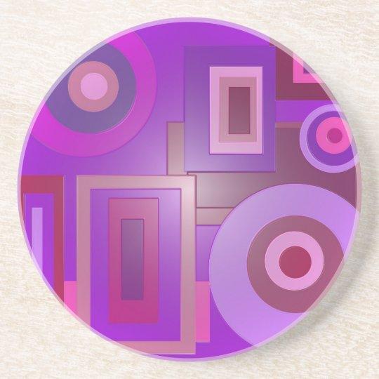 purple circle squares drink coaster