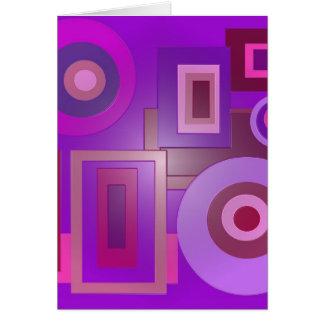 purple circles and squares greeting card