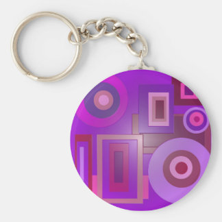 purple circles and squares key chain
