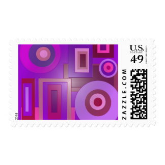 purple circles and squares postage