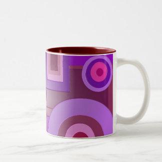 Purple circles and squares Two-Tone coffee mug