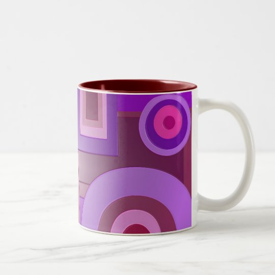 Purple circles and squares Two-Tone coffee mug