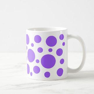Purple circles on white coffee mug. coffee mug