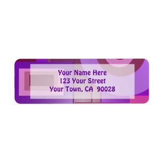 purple circles squares abstract return address label