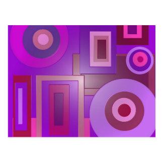 purple circles squares postcard