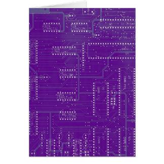 Purple Circuit Board Cyber Industrial EBM Techno Greeting Card