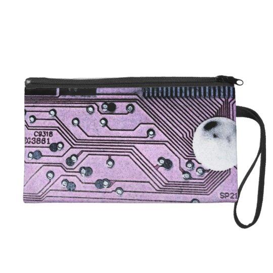 Purple Circuit Board Moonscape Wristlet, Geek Chic Wristlet Purse