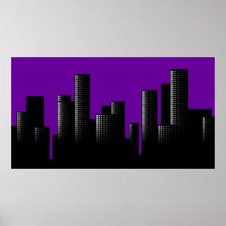 purple cityscape poster