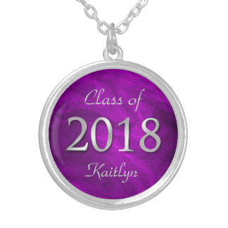 Purple Class of 2018 Personalized Silver Plated Necklace
