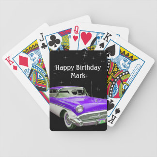 Purple Classic Muscle Car Birthday Bash Bicycle Playing Cards
