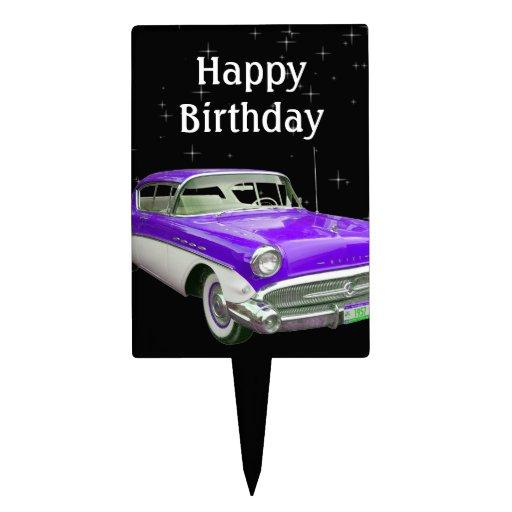 Purple Classic Muscle Car Birthday Bash Cake Pick Zazzle
