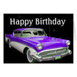 Purple Classic Muscle Car Birthday Bash Card